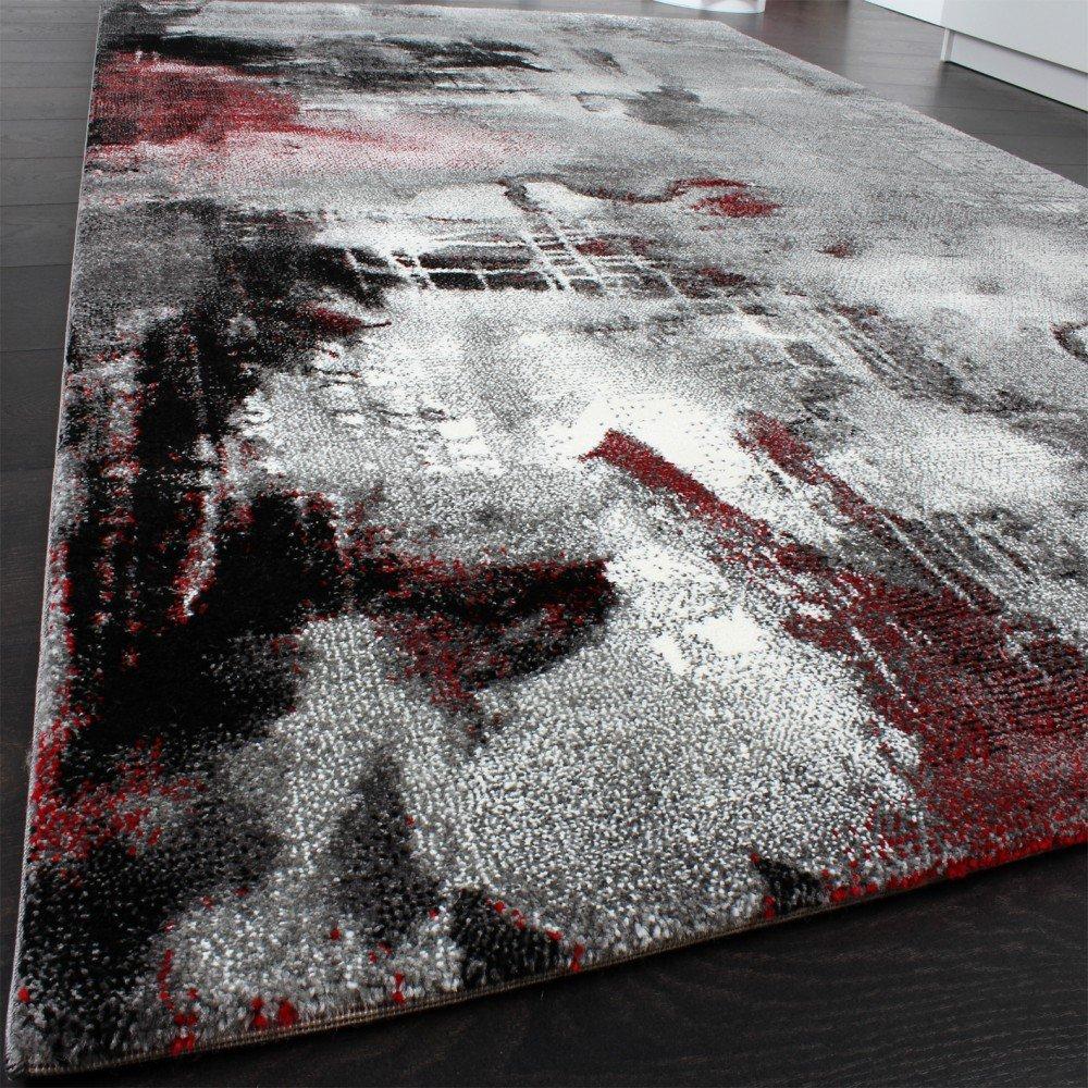 Teppich modern grau  Teppich Modern Designer Teppich Leinwand Optik Meliert Schattiert ...