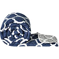 Divine Casa Sanatize Microfiber Reversible Lightweight Double Bed Comforter (Abstract Navy Blue and Grey, 120 GSM)