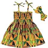 GRNSHTS African Dresses for Baby Girls Toddler Kids Print Sleeveless Halter Dress Boho Clothes + Hair Band