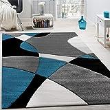 Paco Home Créateur Tapis Moderne Motifs Géométriques Découpe des Contours en Turquoise Gris Noir, Dimension:80x300 cm