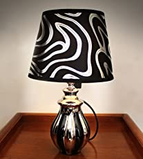 TIED RIBBONS Designer Bedside Table Lamp for Office Bedroom Home Décor Living Room (Glass, Midnight Flow, 35cm X 20cm)