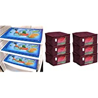 Kuber Industries Non Woven Saree Cover/Saree Bag/Storage Bag Set of 6 Pcs (Maroon) 9 Inches Height & Laminated 6 Pieces…