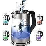 Glazen waterkoker, 1,7 liter, 2200 watt, roestvrij staal met temperatuurkeuze, theekoker, 100% BPA-vrij, warmhoudfunctie, led