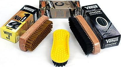 Venus Shoe Polish-Brush for Dusting, Applying Polish and Shining/Buffin (Brown) - Set of 3