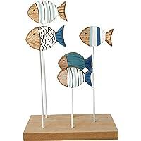 khevga - Decorazione per il bagno, motivo: pesci, colore: Blu