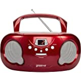 Groov-e GVPS733/RD Portable CD Player Boombox with AM/FM Radio, 3.5mm AUX Input, Headphone Jack, LED Display - Red, 21.0 cm*2