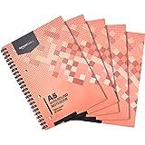 Amazon Basics - Cuaderno de anillas, 160 hojas, tamaño A5, 70 gsm, 5 unidades