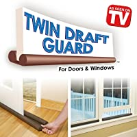 Max Home Twin Door Draft Guard Stop Unwanted Light and Escaping of Cool Air from Split or Window AC (Brown, Standard Size)