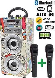 DYNASONIC - Altavoz Bluetooth Portatil Karaoke con 2 Micrófonos Incluidos | Lector USB y SD, Radio FM Modelo 025 (Modelo 2,