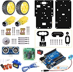Kit4Curious 2 WD DIY Arduino Robot Complete Kit with ultrasonic, servo, Motor Driver, Arduino, Motor, Wheel for Robotics