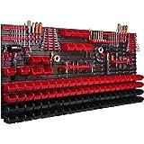 Systeemrek XXL, 172 x 78 cm, wandrek, stapelboxen, gereedschapswand, gereedschapshouder, opbergkast, kunststofdoos, rood, zwa