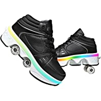 Pattine A Rotelle Scarpe con Rotelle Pattini A Rotelle Retrattile 4 Ruote Skateboard Sneakers Sportive da Esterno per…