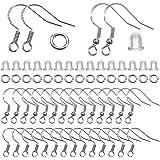 TOAOB 300 Piezas Ganchos para Pendientes y 4 mm para Anillo de Salto Abierto Plata de Ley 925 y Tapones para Los Oídos Transp