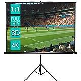 CCLIFE Écran de Projection avec Trépied (Taille au Choix) - 1:1 Format - Écran projecteur escamotable - Écran Projection…