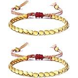 Adramata 2-6St Verbessert Tibetische Kupferperlen Armband Rotes Schnurarmband Buddhist Glücklich Knoten Rotes Kordelarmband H