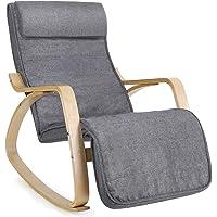 SONGMICS Fauteuil à Bascule, Rocking Chair, avec Repose-pied, Réglable en 5 Niveaux, Charge max 150 kg, Gris LYY11G