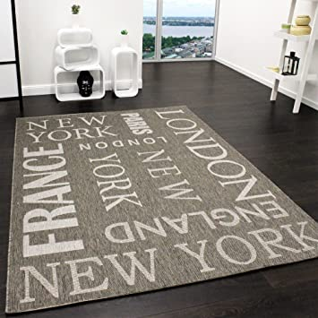 Teppich Modern City Sisal Optik Flachgewebe Designer Teppich in ...