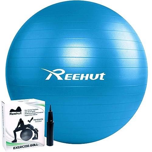 REEHUT Palla da Ginnastica Resistente Fino a 498kg Anti-Scoppio con Pompa per Fitness, Allenamento, Yoga e Pilates - 55cm 65cm 75cm