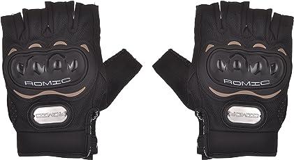 Romic Motorcycle Half Gloves (Black, Large)