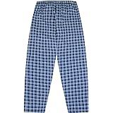 The PyjamaFactory Men's Checked Woven Leg Long Cotton Lounge Bottoms