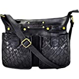 ANNODYNE Genuine Leather Hand-Weaved Sling & Cross-Body Bag for Women with Adjustable Strap