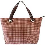 CTM Borsa a Mano da Donna, Shopper con Fantasia Geometrica, Vera Pelle Made in Italy 48x31x15 Cm