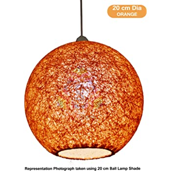 Salebrations 20 cm Dia Orange Hanging Ball Lamp Shade With Yarn And Led Bulb