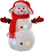 WeRChristmas Snowman with Colour Changing LED Body and Face Christmas Decoration, 33 cm - Large, Multi-Colour