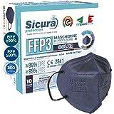 10 Mascherine FFP3 Certificate CE BLU elastici Neri Made in Italy logo SICURA impresso PFE ≥99%   BFE ≥99% Mascherina ffp3 SA