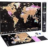 Scratch Off mapa świata plakat mapa Europy bonus - szczegółowe mapy podróży w akwareli mgławicy - z zestawem akcesoriów i tub