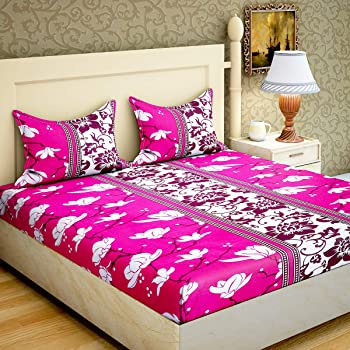 Home Elite 104 TC Cotton Double Bedsheet With 2 Pillow Covers   Floral, Pink