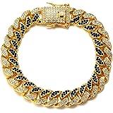 Halukakah Diamante Cubano Catena per Uomo Fuji,14MM Catena in Oro Iced out Placcato Oro Reale 18k/Oro Bianco Platino Girocoll
