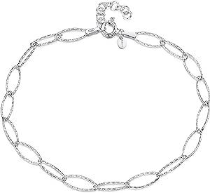 Amberta Gioielli - Catenina da Caviglia Argento Sterling 925 - Regolabile da 22 a 25,5 cm - Misura Flessibile