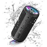 Ortizan Enceinte Bluetooth Portable sans Fils.lumière LED, IPX7 Lecture 30H, Volume Plus Fort et Basses améliorées,Durable po