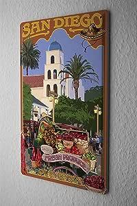 Houseuse Panneau Vintage en étain de Voyage pour Cuisine San Diego Décoration de la Maison de Cuisine Salon Art Mural 30,5 x 40,6 cm