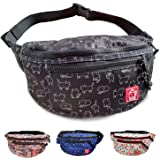 FLOCK THREE Fanny Pack Waterproof Waist Bags Mens Shoulder Bag Women's Sling Purses Travel Backpack Casual Bum Bag Women Smal