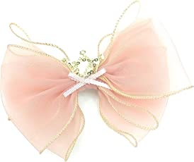 BIG BOW With Golden Crown Peach Colour Fascinator Hair Clips For Girls'.Size 13cm