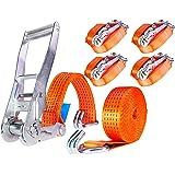 4 x 5000 kg 6 m Cinghie di Tensione con Cricchetto e Gancio Cinghie di ancoraggio Cinghia di fissaggio 50 mm due parti