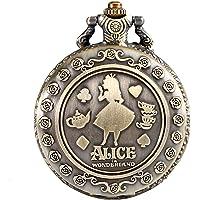 Orologio da taschino analogico al quarzo, da donna, in bronzo, a tema Alice nel paese delle meraviglie, con incisione…