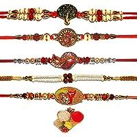 BANDHAN- Rakhi Combo for Brother , Rakhi for Bhaiyya/Bhai , Rakhi Pack of 5 with Rolo Tik  Gold Rakhi bracelet for…