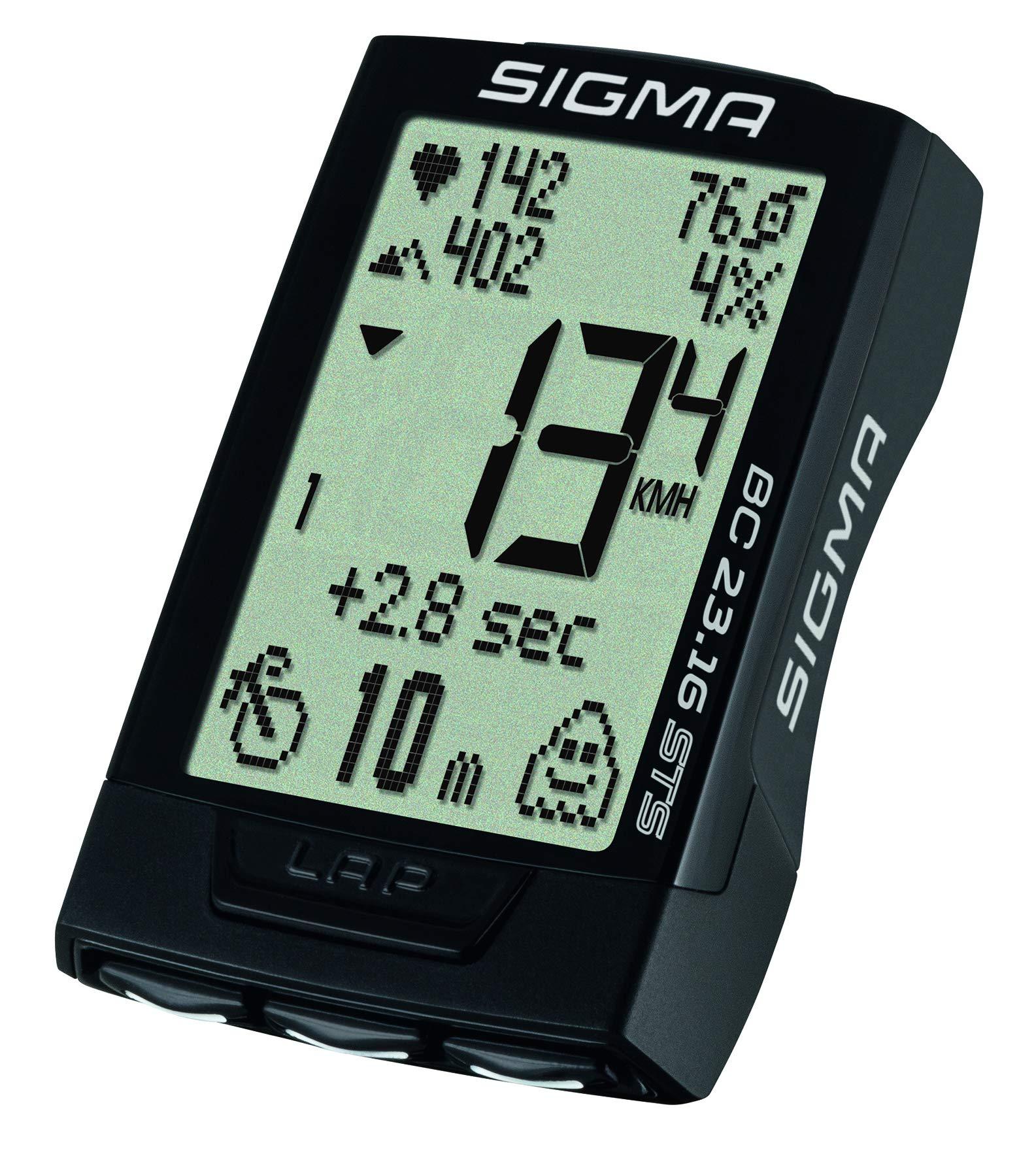81Kejt%2BMdaL - Sigma Sport Fahrrad Computer BC 23.16 STS, 23 Funktionen, Ghost-Race, Kabelloser Fahrradtacho, Trittfrequenz- und Pulsmessung, Schwarz