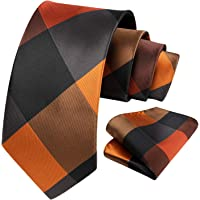 HISDERN Men's Check Plaid Tie Handkerchief Wedding Party Necktie & Pocket Square Set For Classic Business