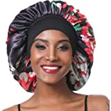 SENGTERM Bonnet de Nuit en Satin élastique à Large bande pour Femme,Cheveux Longs, Cheveux Bouclés (L, black flower)