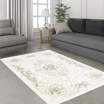 Teppich Hochwertig Sultan Wohnzimmer Acryl Rokoko Blumen Creme Rosa Grosse In Cm80 X 150 Cm Amazonde Kuche Haushalt
