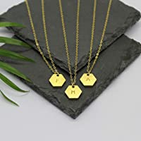 Hexagon inital necklace