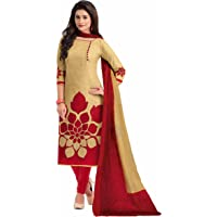 Miraan Cotton Printed Readymade Salwar Suit For Women(MIRAANBAND1602, Red)