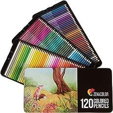 120 Buntstifte mit Metallbox von Zenacolor - 120 einzigartige Farben - Leichter Zugang mit 3 Fächern - Ideales Set für Künstler, Erwachsene und Kinder
