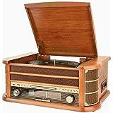 Shuman MC-250BT Nostalgie Retro Komplettanlage Music Center mit Plattenspieler, CD / MP3-Player, USB-Wiedergabe , UKW-Radio, drahtlose Verbindung mit Ihrem tragbaren Audiogerät, Kassette,