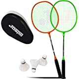 Jaspo Voyager Badminton Beginner Professional Practice Racket Set (2 Racket, 3 Feather Shuttle and Bag)