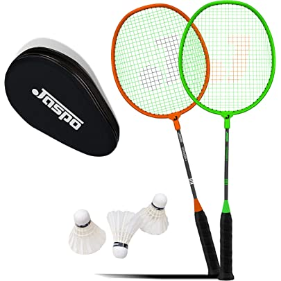 jaspo Voyager Badminton Beginner Professional Practice 2 Racket, 3 Feather Shuttle and Bag Set